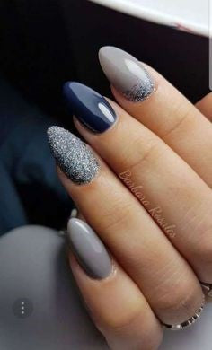 Short Stiletto Grey nail design