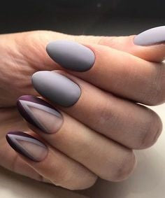 Geometric Grey nail design