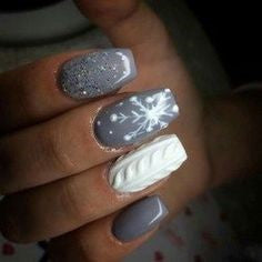Winter snowflake Grey nail design