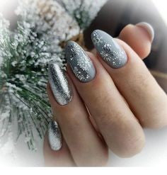 Christmas Grey nail design