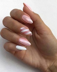 Pink vitality girl Almond Nail Design
