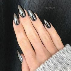 Black Metallic Almond Nail Design