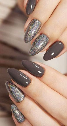 Gray Glitter Almond Nail Design