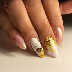 Bee Gold Decorations Almond Nail Design