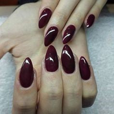 Burgundy Almond Nail Design
