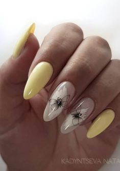 Butterfly Almond Nail Design