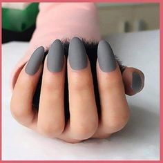 Matte Gray Almond Nail Design