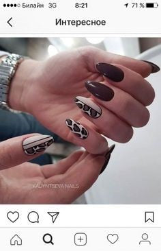 Animal pattern Almond Nail Design