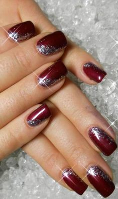 Christmas Gel Nail Design-3 Red Glitter nails