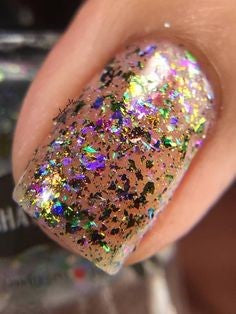 Rainbow glitter sequins nails