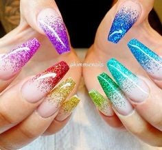 Rainbow Sequins Long Coffin nails