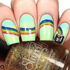 Long Square Rainbow glitter nails