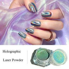 Holographic rainbow glitter nails