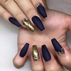 Gold and dark blue nails
