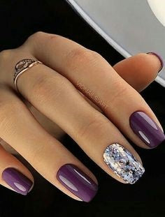 Purple and Metallic Summer Nail Color Idea