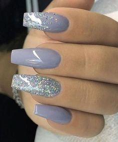 Summer Gray Glitter Nail Color Idea
