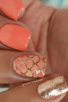 Orange mermaid Summer Nail Color Idea