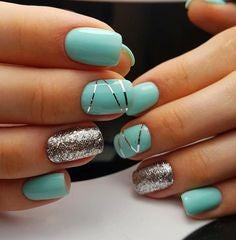 Summer turquoise Nail Color Idea