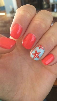 Red starfish Summer Nail Color Idea