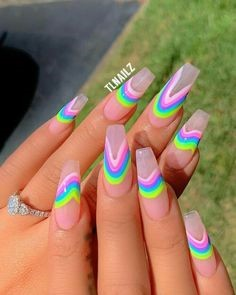 Summer Rainbow Nail Color Idea