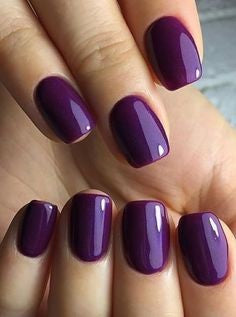 Pure purple gel nails