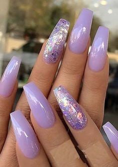 Light purple Coffin nails