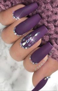 Rhinestone purple nails