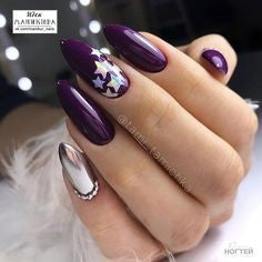 Almond purple nails