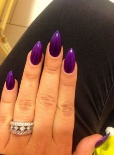Purple Short Stiletto nails