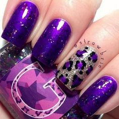 Purple animal pattern nails
