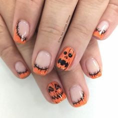 French Halloween Pumpkin Nails