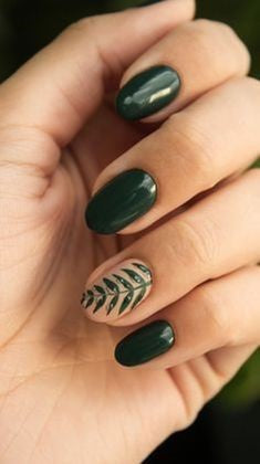 Spring green plants sprouting nail art