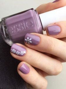 Purple little flower nail art