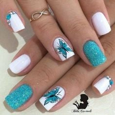 Blue butterfly flying nail art