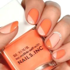 Orange and nude nail art