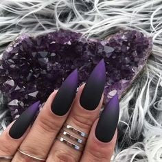 Purple Ombre Gothic Nail Design