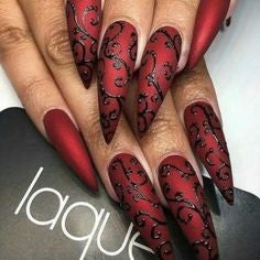 Red Thorns Gothic Nail Design