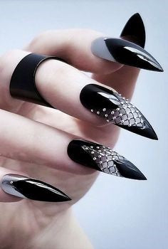 Black Glitter Stiletto Gothic Nail Design