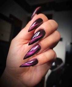 Purple Cat eye Gothic Nail Design