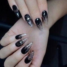 Nude Short Stiletto Gothic Nail Design