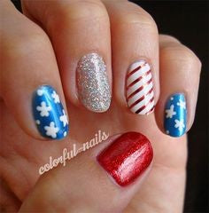 Almond July 4 Holiday Nail Design