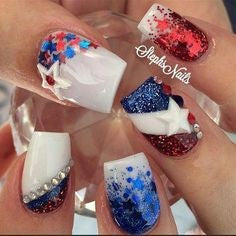 3D stickers July 4 Holiday Nail Design