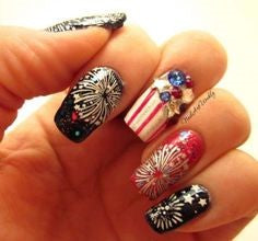 Firework and Decorations July 4 Holiday Nail Design