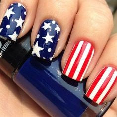 Star and Stripes July 4 Holiday Nail Design