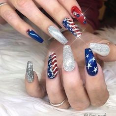 Coffin July 4 Holiday Nail Design
