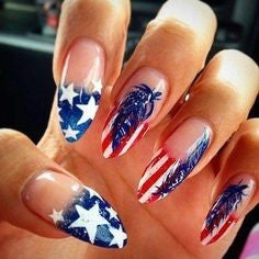 Long Stiletto July 4 Holiday Nail Design