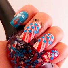 Letter July 4 Holiday Nail Design