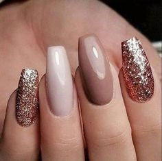 Glitter Coffin Neutral Nail Design