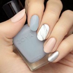 Almond Neutral Nail Design