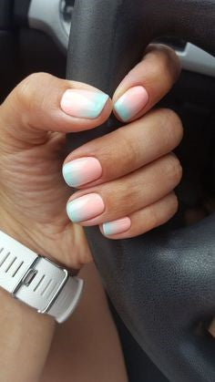 Pink to blue ombre pastel nail design